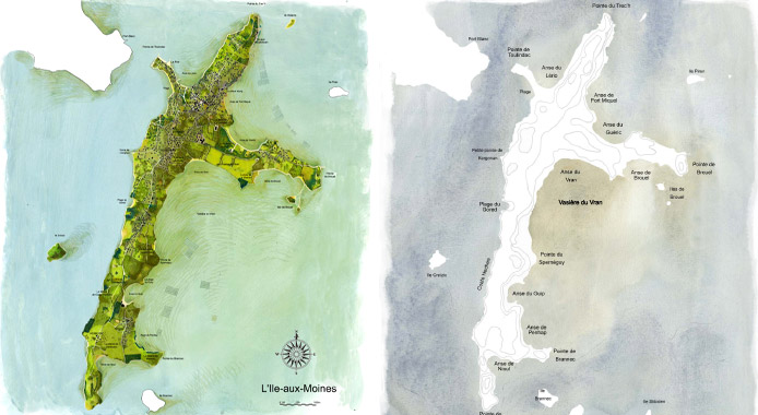 Carte de la terre / carte de la mer