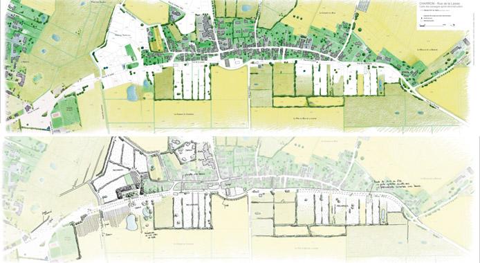 Carte des paysages après déconstruction de la commune de Charron (en haut), Esquisse du projet (en bas)
